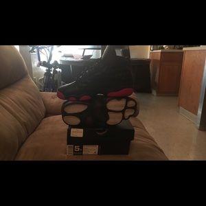 Size 5 red & black Jordan's